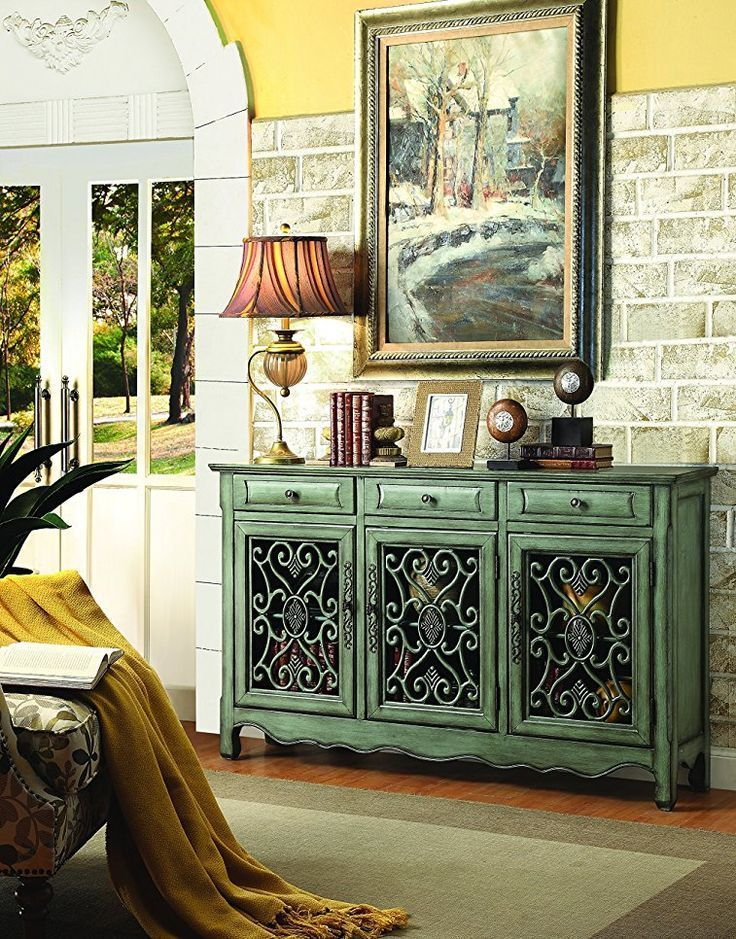 Coaster Home Furnishings 950357 Accent Cabinet Antique Greengreen Decor Is Beautiful Green Wall Art Furniture And Throw Pillows Are