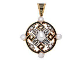 An Antique Natural Pearl, Diamond and Enamel Brooch/Pendant, circa 1880