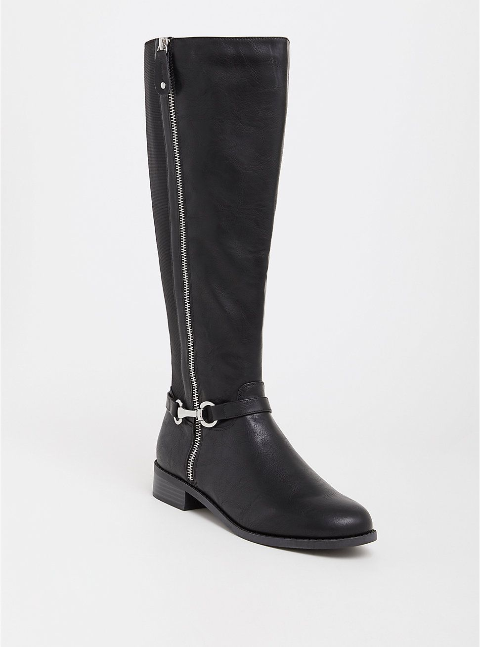 689298af8575 Black Faux Leather Riding Boot (Wide Width   Wide Calf)