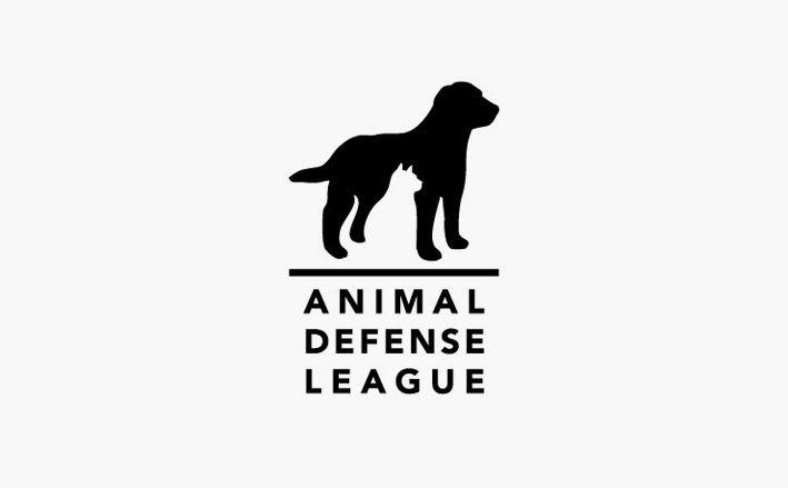 Animal Defense league's negative space tight logo.