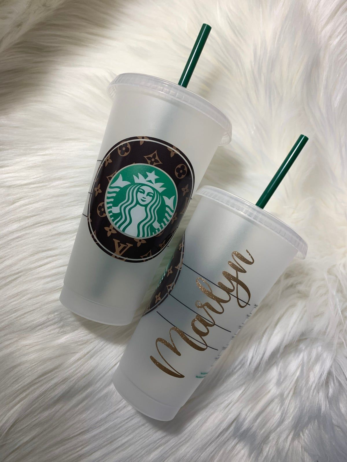 Lv Monogram Cold Cup In 2020 Custom Starbucks Cup Personalized Starbucks Cup Starbucks Cup Art