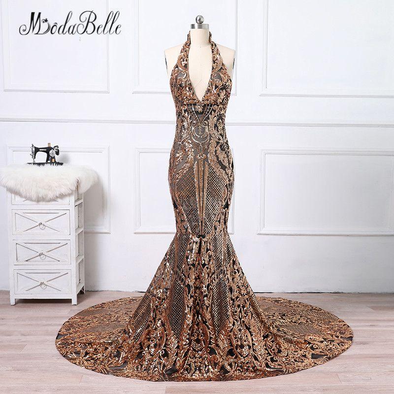 0958af1ba326d modabelle Black Gold Long Sequins Evening Dress Mermaid Robe De ...