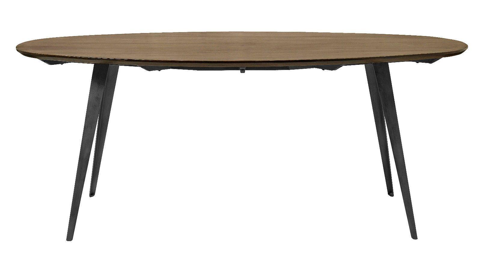 Esstisch oval 240 x 100 cm Mango Massivholz Metallgestell