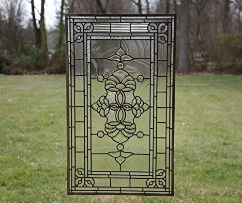 20 X 34 Tiffany Style Stained Glass Clear Beveled Window Panel