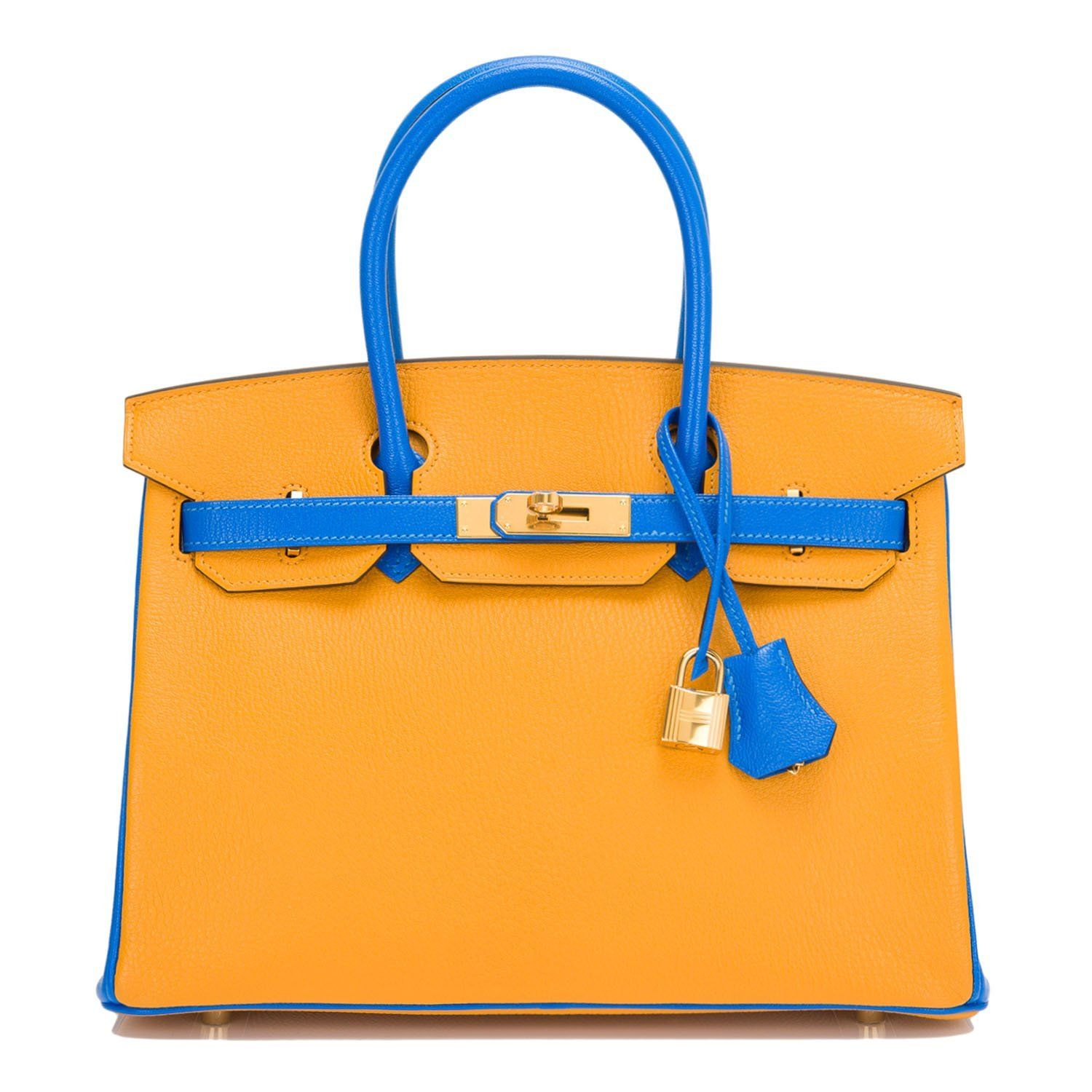 0d856bb781 Hermes HSS Jaune D Or and Blue Hydra chevre mysore Birkin 30cm with gold  hardware