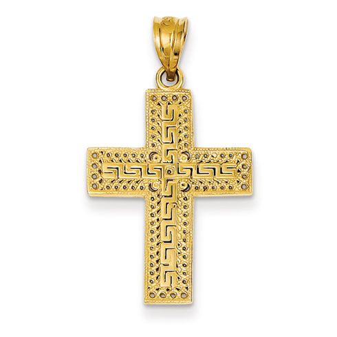 Solid 14k Two Tone Gold Filigree Eastern Orthodox Cross Crucifix Pendant Necklace