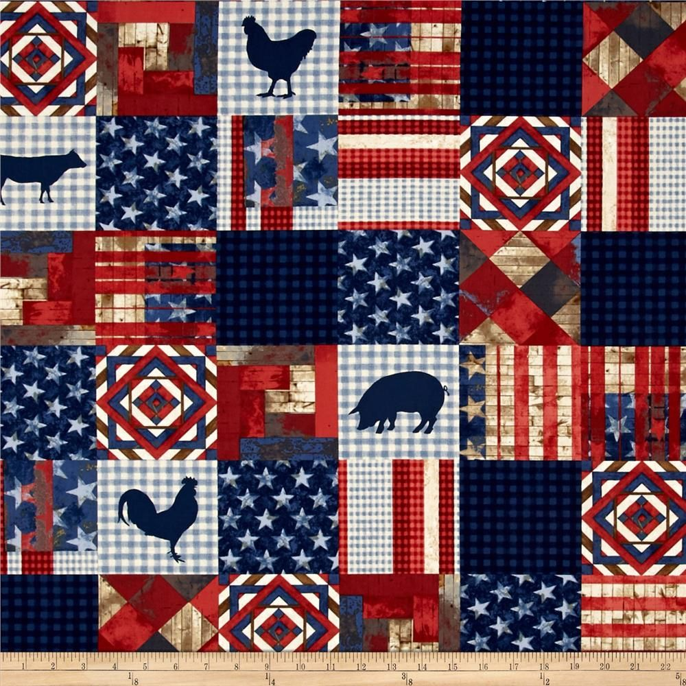 Kaufman 4th On The Farm Patch Americana is part of Quilt fabric, Printing on fabric, Quilts, Cotton quilts, Patchwork quilts, Fabric crafts - Designed by World Art Group for Robert Kaufman Fabrics, this cotton print fabric is perfect for quilts, home décor accents, craft projects and apparel  Colors include red, blue, brown, cream and offwhite