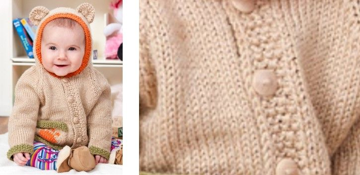 94033400a Cute Baby Bear Knitted Hoodie  FREE Knitting Pattern