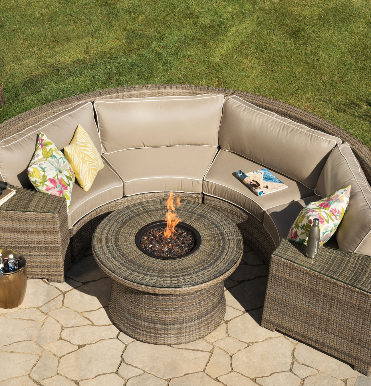 This Curved Outdoor Sectional Is Perfect For The Backyard. The Neutral  Weave And Cushions Are Really Pretty. Like That You Can Special Order The  Cushions To ...