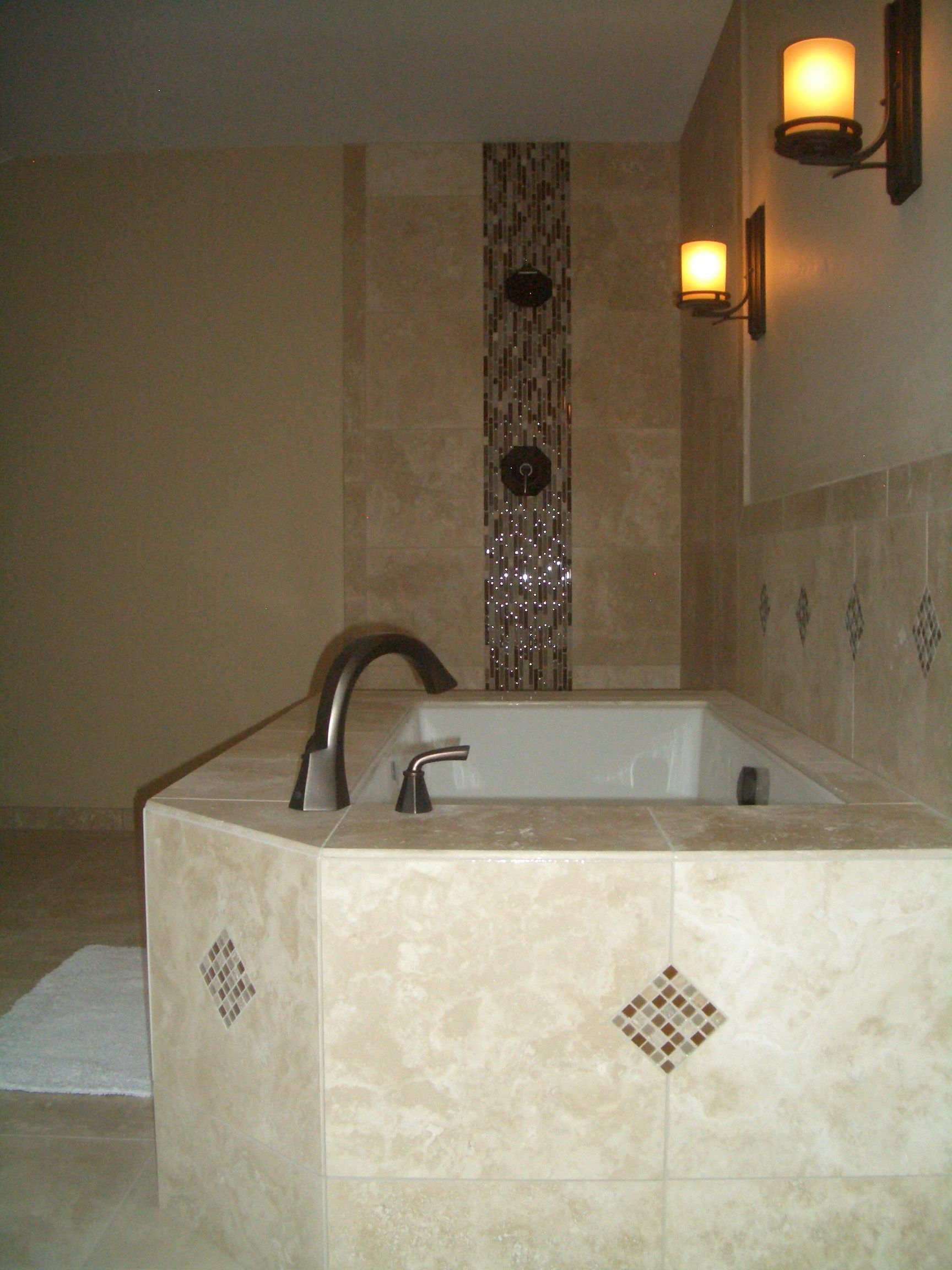 Completed access panel Tile around bathtub, Tile