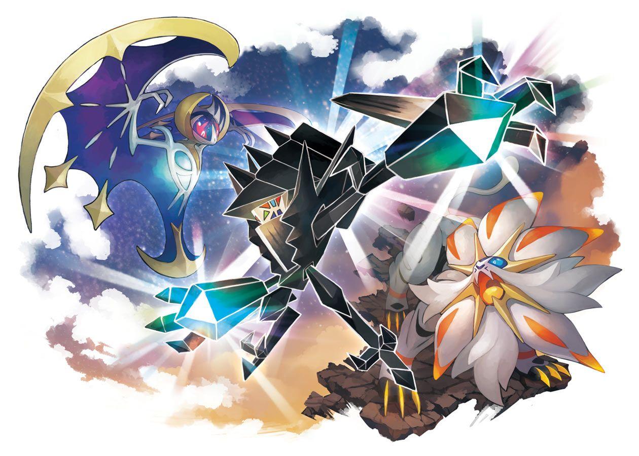 Lunala Necrozma Solgaleo Art From Pokémon Ultra Sun And