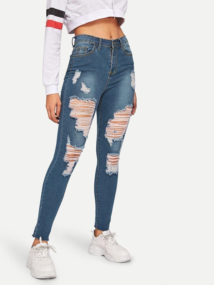 Distressed Raw Hem Skinny Jeans Shein Jeansoutfit Pantalones De Moda Jeans De Moda Pantalones De Mezclilla Mujer