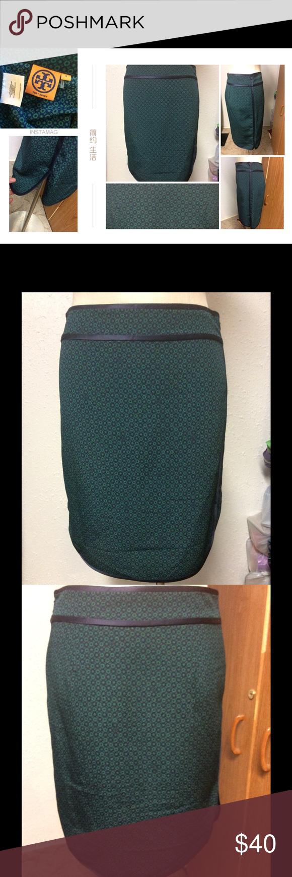 Tory Burch skirt 🏁 Green & Blue skirt. Side slit. Polyester & silk. Final markdown. Bundle for further discount. Tory Burch Skirts Midi