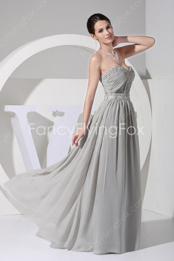 Gray Chiffon Sweetheart Neckline A-line Full Length Military Ball Dresses With Beads