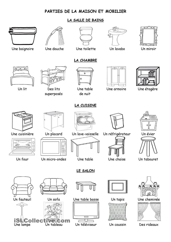 parties de la maison et mobilier learning french. Black Bedroom Furniture Sets. Home Design Ideas