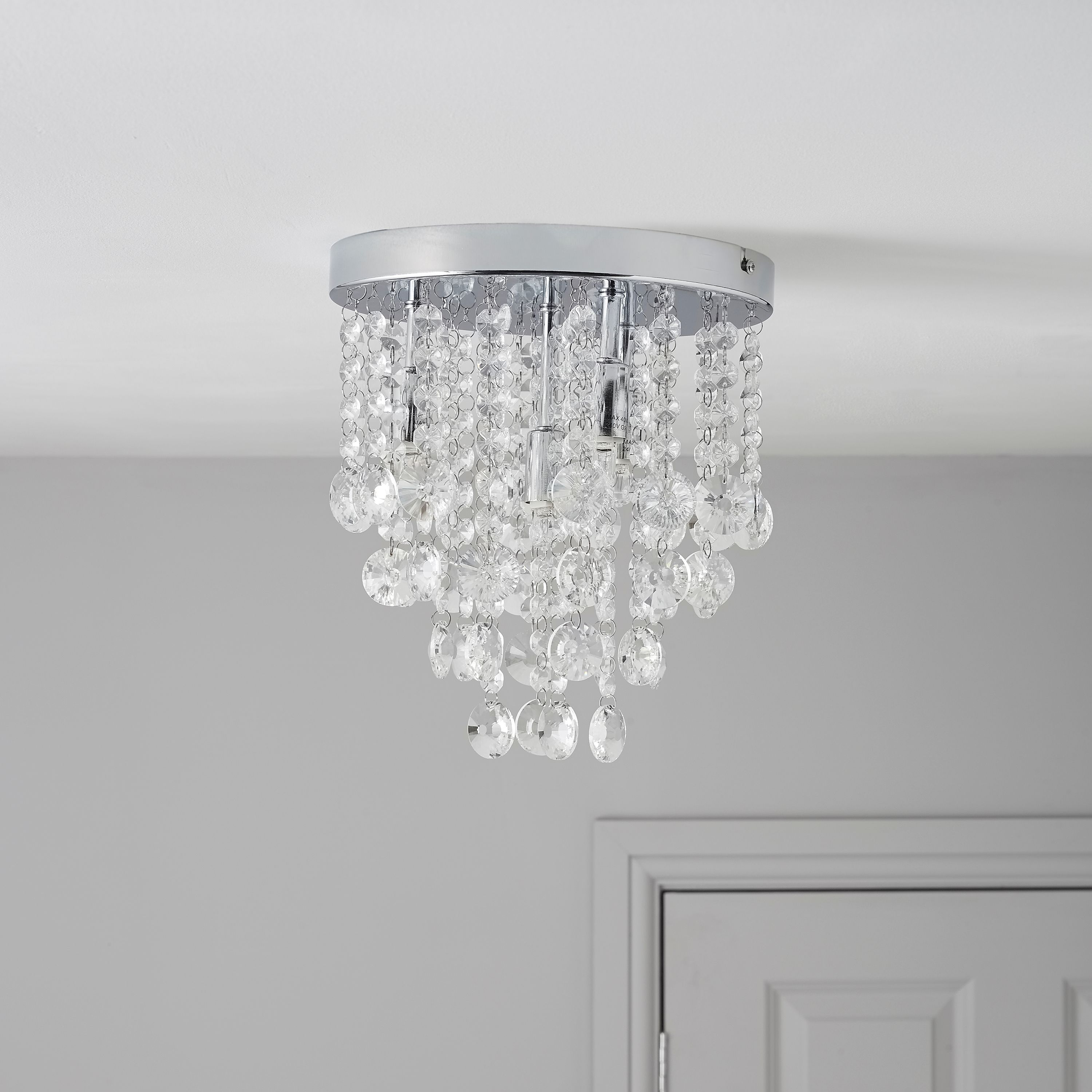 Bathroom Light Fixtures B&Q glimmer crystal droplets chrome effect 4 lamp ceiling light