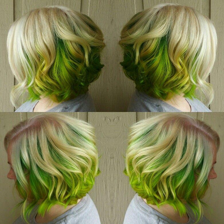 Blonde And Lime Green Hair Green Hair Short Green Hair Hair Color