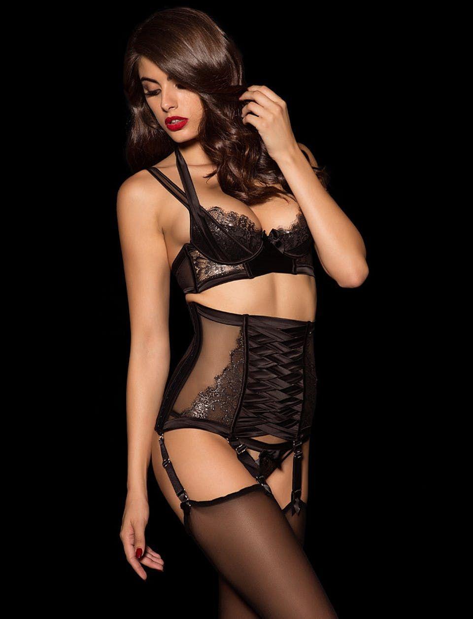 f46cb859688c Michelle Black Thong Suspender Set - Shop Lingerie Set | Honey Birdette UK