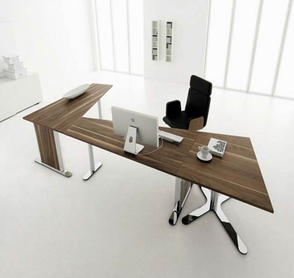 Unique Brown Wood Functional Desk Design Collections for Home