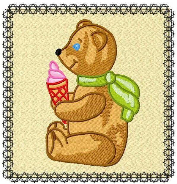Ice cream for teddy machine embroidery design. Machine embroidery design. www.embroideres.com