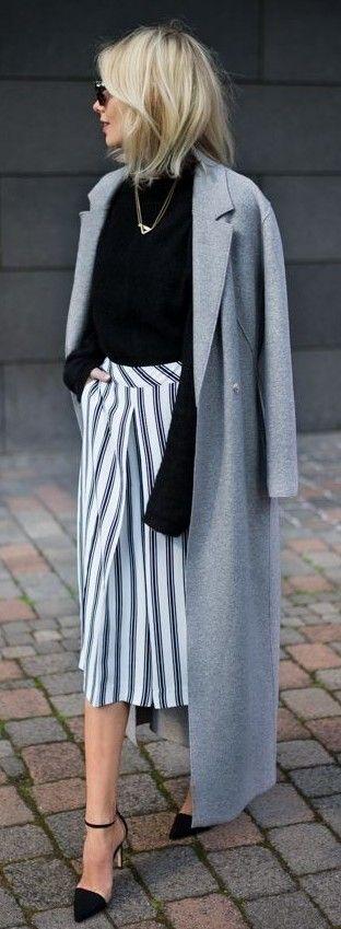 #business #casualoutfits #spring | Grey Coat + Striped Culottes |Lisa RVD