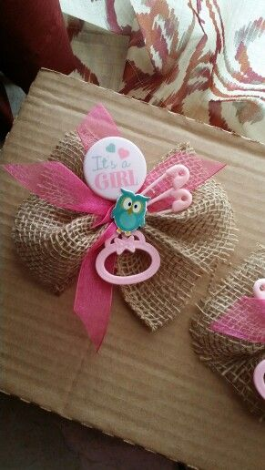 Owl Theme Burlap Corsage Owl Baby Shower Baby Shower Coursage