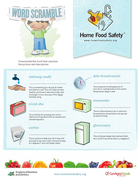 Food Safety Word Scramble - Home Food Safety | World health day ...
