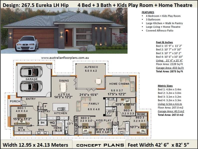 New Modern Home Plan 267.5 m2 or 2873 Sq. Feet | 4 Bedroom + Home Cinema + Kids Play Room | Concept house plans