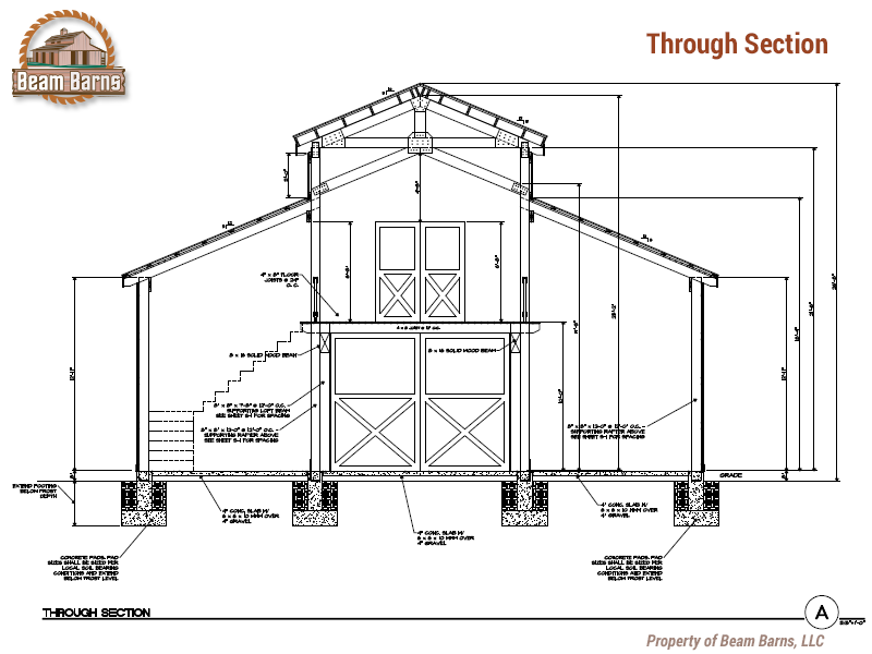 The Collings 38x48 Through Section Png 800 600 Barn House Plans Pole Barn House Plans Pole Barn Homes