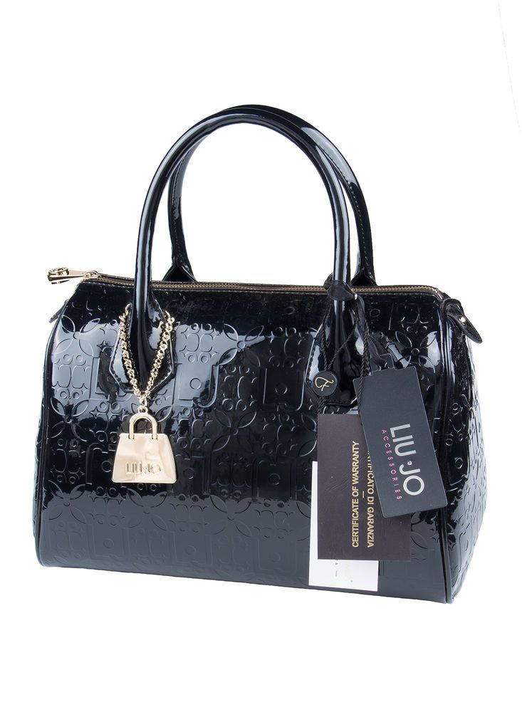 Le Borse Di Liu Jo.Borsa Bauletto Liu Jo Mod Melanie Nero Vernice Nuovo Handbag Black Sac Borse Borse Nere Liu Jo