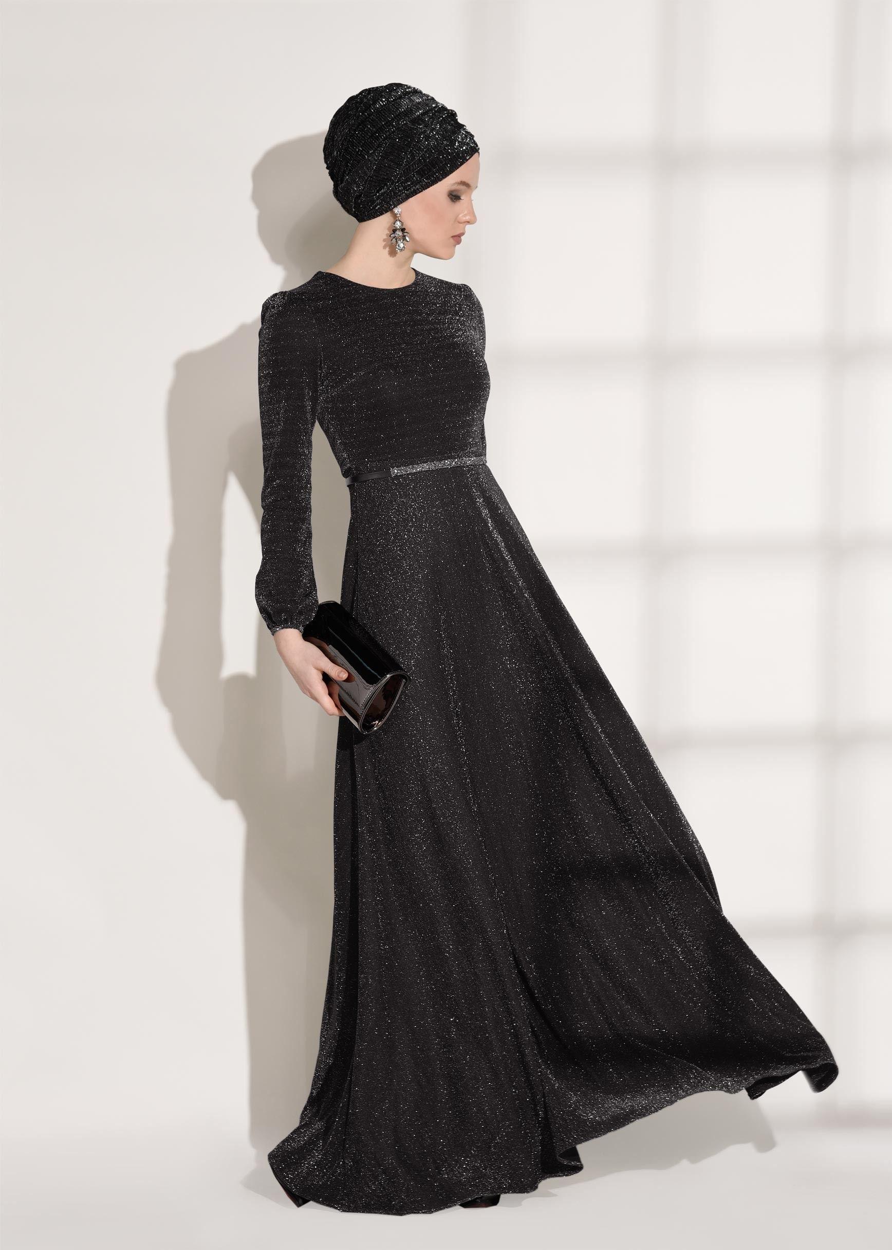 T 2052 Loreen Simli Elbise Siyah Trend Tesettur Moda Stilleri Giyim Elbise