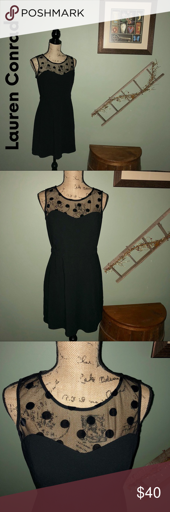 Lauren Conrad Lbd Black Dress With Mesh Top Lbd Black Dress Dresses Little Black Dress [ 1740 x 580 Pixel ]