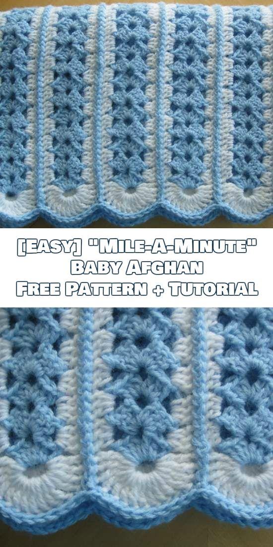 Easy] Mile-A-Minute Baby Afghan + Tutorial | Decken, Häkeln und ...