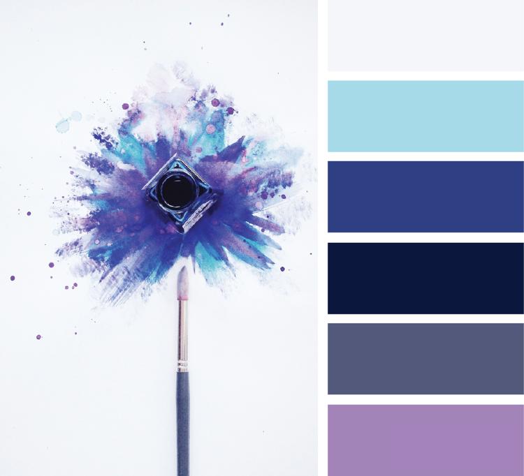 Welche Farbe Passt Zu Blau Und Lila Grauweiss Taubengrau Mitternachtsblau Farbpalette Blau Farbabstimmung Farbenmix