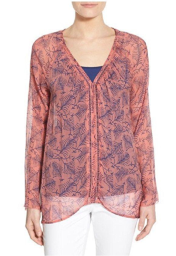 Lucky Brand Linework Palms V-Neck Top Pink Multi