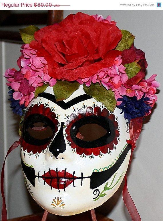 d958db29592 SALE Skull Day of the Dead Frida Kahlo Art Catrina Masquerade Mask ...