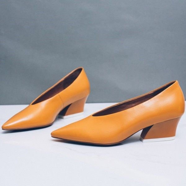 9d55c8d05db Women s Style Pumps and D orsay Heels Winter Retro Mustard Pointy Toe  Vintage Chunky Heels Retro Pumps For Date New Years Eve Party Outfit 2018  Spring and ...