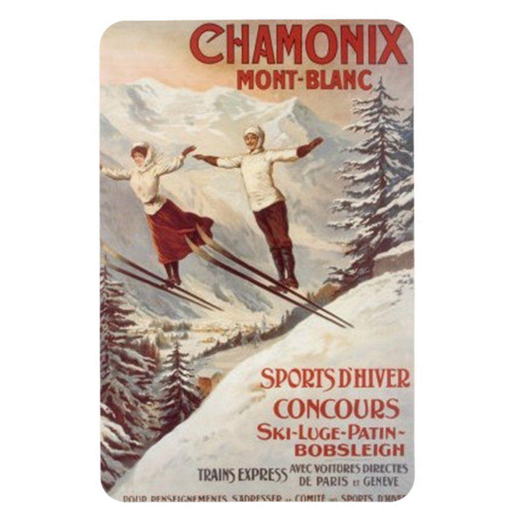 ALPS CHAMONIX MONT BLANC WINTER SPORTS SKI JUMPING SKIING VINTAGE POSTER REPRO