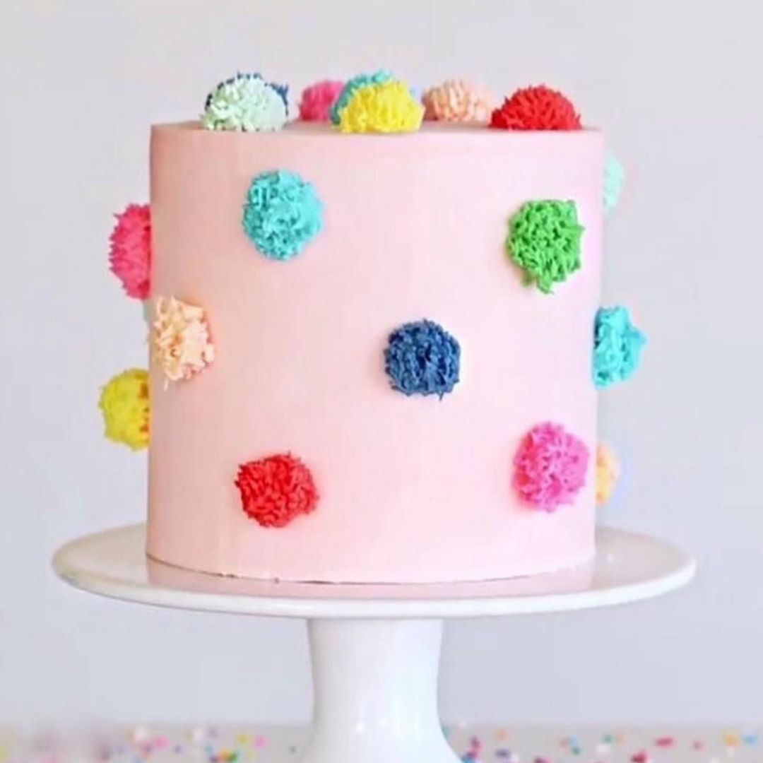 "Meri Meri official on Instagram: ""Discovered this perfect pom pom cake by @cakebycourtney on @rubyrabbitparty"" -   15 crazy cake Designs ideas"