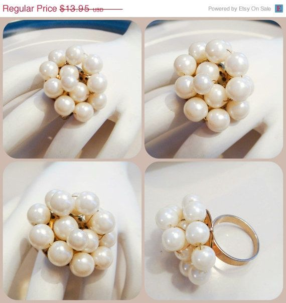 SPRING TRENDS SALE Vintage Pearl Ring with by PaganCellarJewelry, $10.46
