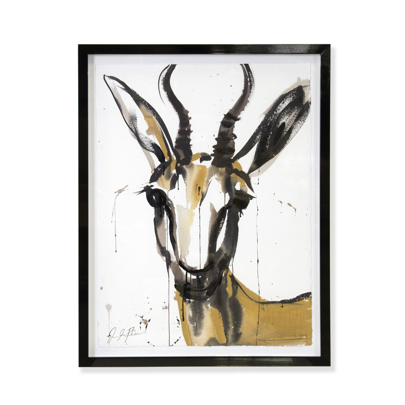 "Jenna Snyder-Phillips - Snyder-Phillips ""Marcelle"" Framed Sumi Ink Painting"
