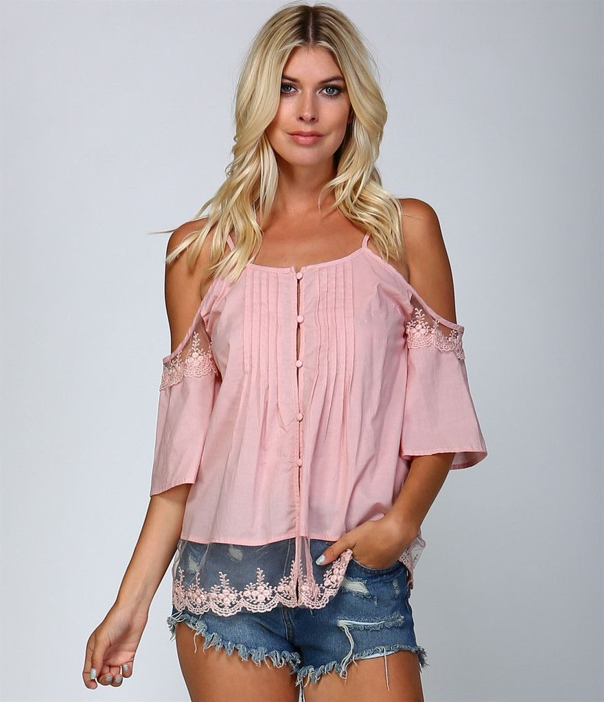 Pink Off Shoulder Lace Button Shirt   Blusas de moda y estilo ...