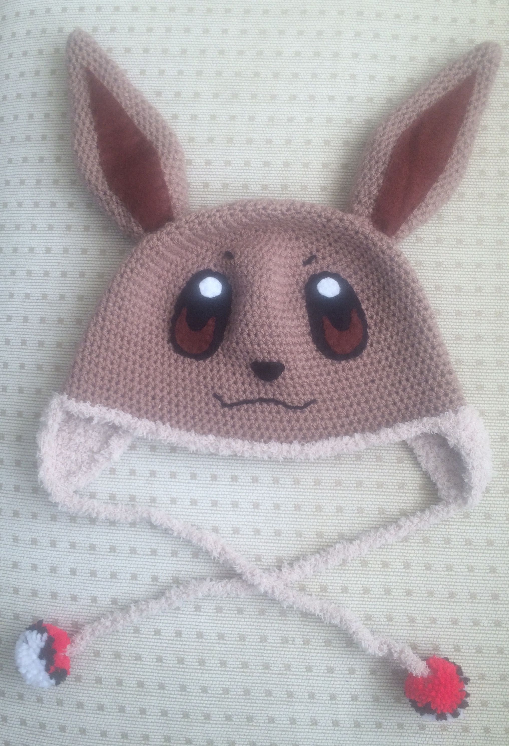 Crochet Pokemon Eevee hat! Crocheting with eyelash yarn is a ...