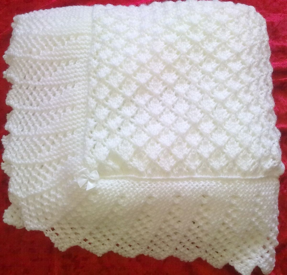 Knitting Patterns For A Baby Shawl : Stunning New Hand Knitted Baby Shawl Blanket 36x36 Ins i love knitting ...
