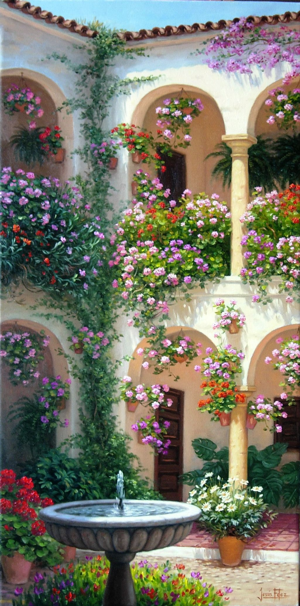 Patio cordob s andalucia espa a dibujo pinterest - Imagenes de patios andaluces ...