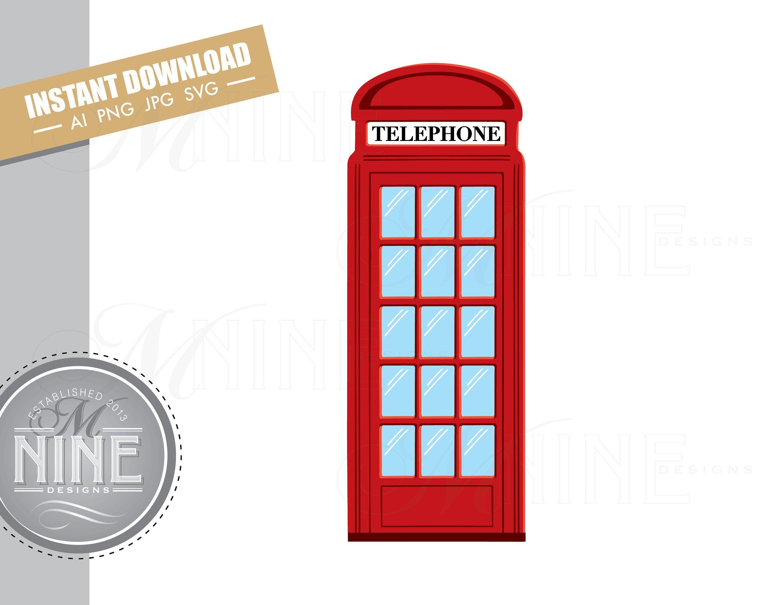 Red Phone Booth Clip Art Downloads Vector Phone Booth Ai Png Etsy Clip Art Downloadable Art Photo Album Scrapbooking