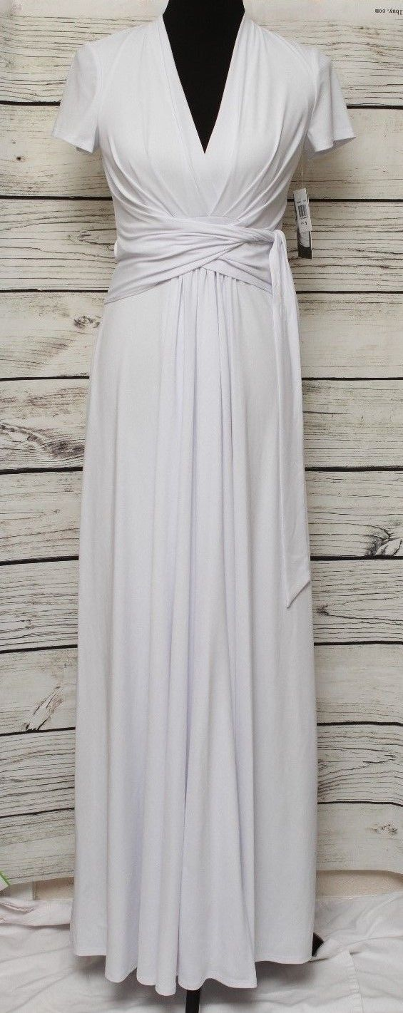 Awesome david meister nwt white long bridesmaid prom party gown