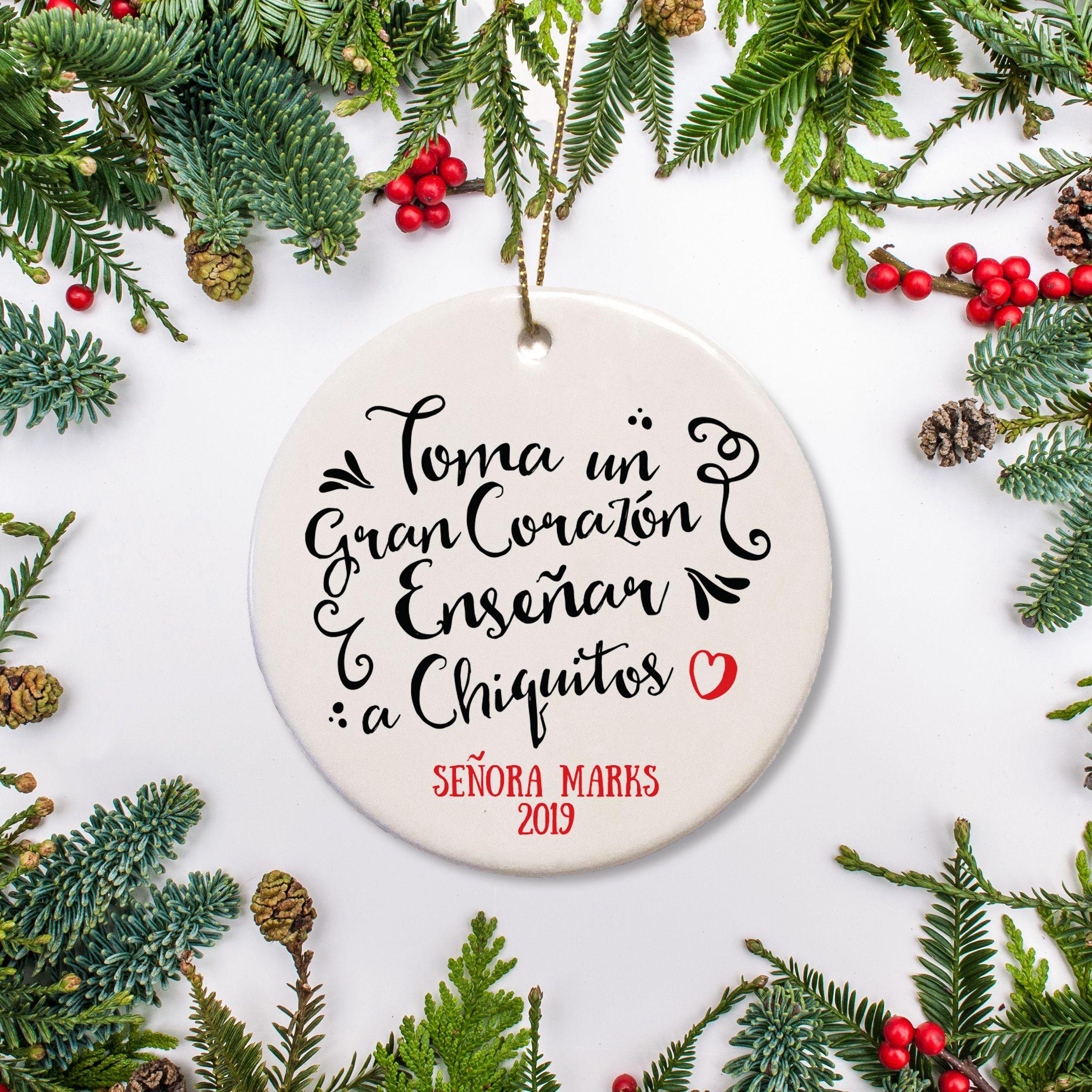 Teacher Big Heart Spanish Christmas Ornament Teacher Christmas Gifts Christmas Ornaments Teacher Ornaments