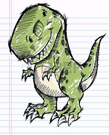 динозавра: Тиранозавр динозавр каракули эскиз векторные иллюстрации #dinosaurart