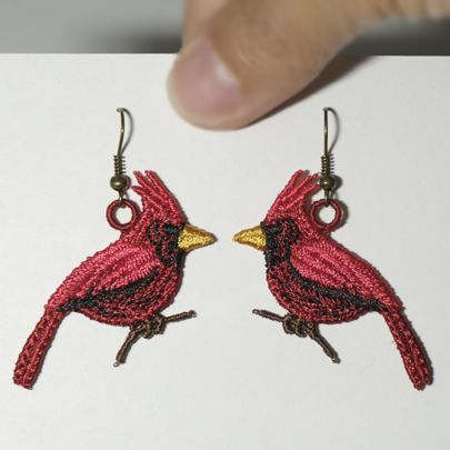Cardinal Earrings Sonia Showalter Embroidery Jewelry Machine Embroidery Designs Lace Earrings